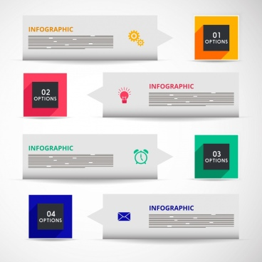 infographic design elements squares horizontal arrows ornament