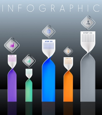 infographic design elements twisted vertical bars shapes