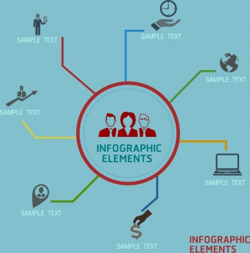 infographic design elements various icons ornament flat design