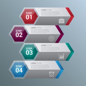 infographic design horizontal hexagon style