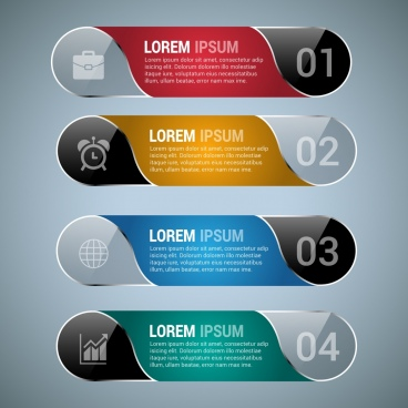 infographic design sets shiny colored horizontal style