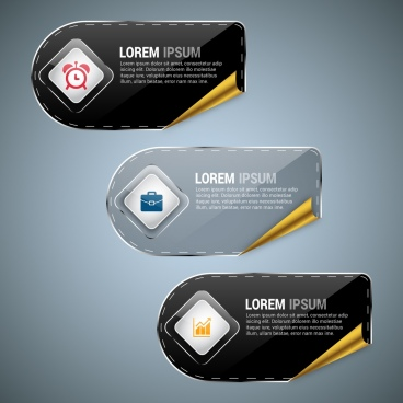 infographic design sets shiny rounded horizontal style