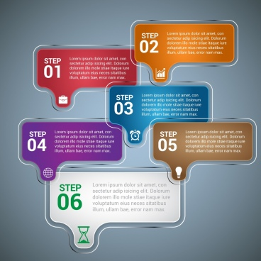 infographic design shiny colored tags style
