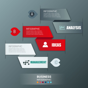 infographic design with 3d modern style origami banners