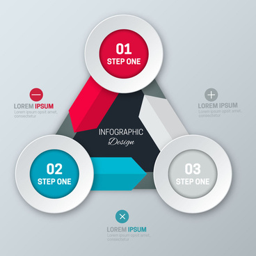 infographic design with 3d rounds and arrows