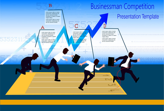 infographic design with businessmen competition illustration