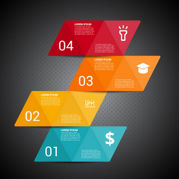 infographic design with colorful parallelograms