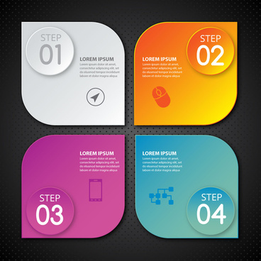 infographic design with four rounded squares