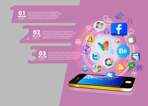 infographic design with phone interfaces on pink background