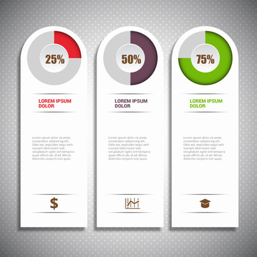 infographic design with vertical tabs and circle percentage