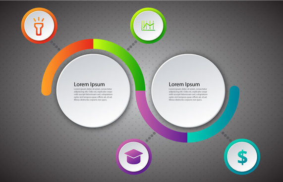 infographic diagram design with circles and rounded lines
