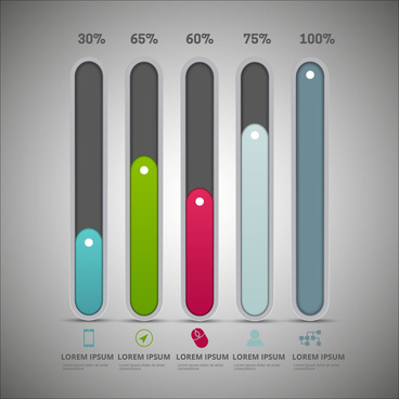 infographic diagram design with vertical tabs and percentage