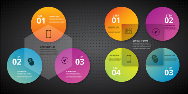 infographic diagram design with vignette geometric background