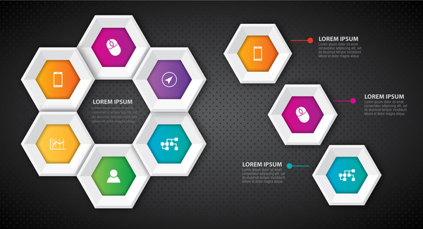 infographic diagram with colorful beehive geometric buttons illustration