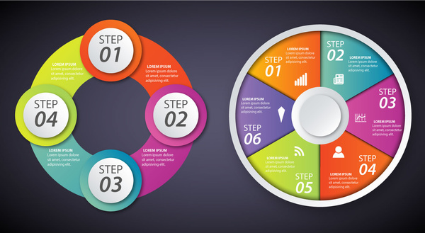 infographic diagrams illustration with colorful circles