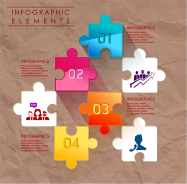 Infographic Elements Vector Illustration With Colorful Jigsaw Puzzles