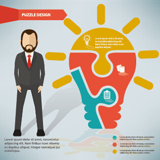 infographic elements with businessman vector template