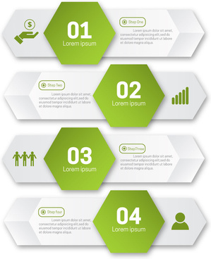 infographic illustration with green hexagons and horizontal tabs