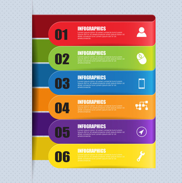 infographic illustration with horizontal colorful tabs