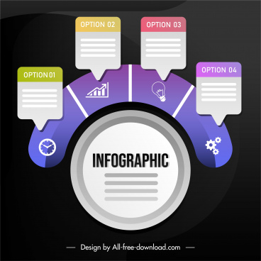 infographic template circle layout colorful flat modern