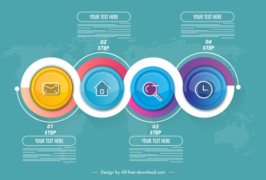 infographic template colorful circles connection decor flat modern