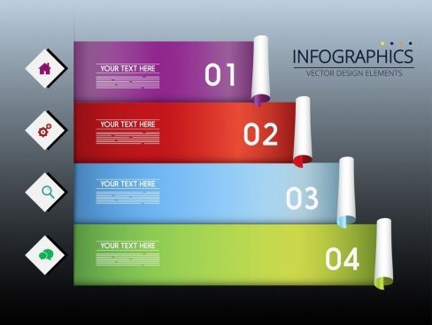 infographic template colorful horizontal roll decor