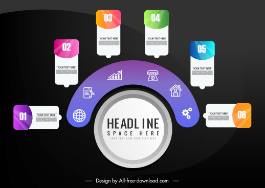 infographic template colorful modern circle layout