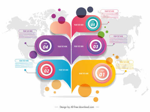 infographic template colorful speech bubble circles shapes