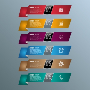 infographic template design colored curved ribbons decoration