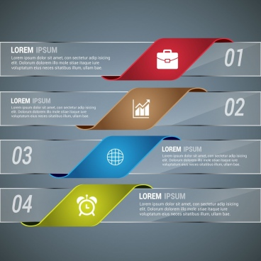 infographic template design horizontal transparent glass style