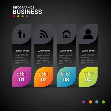 infographic template design with black vertical bar