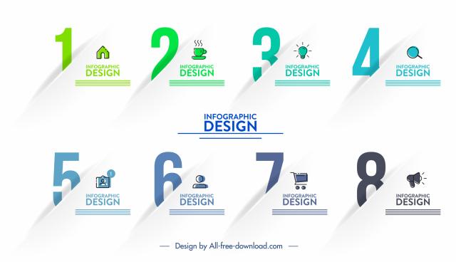 infographic template elegant sequence figures modern 3d design