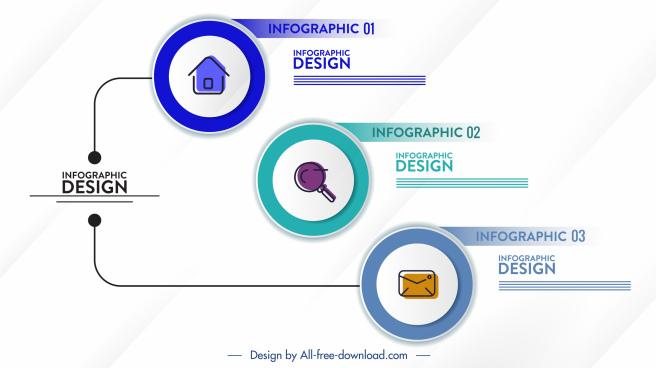 infographic template flat circles user interface decor