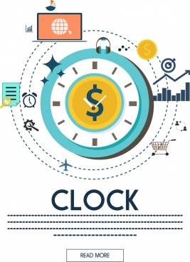 infographic template flat round clock icon webpage style