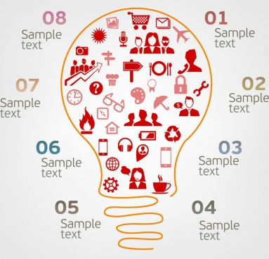 infographic template idea concept lightbulb icon ornament
