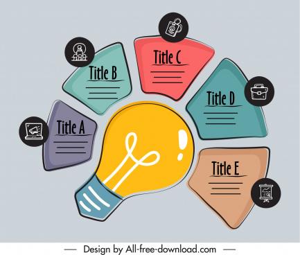 infographic template lightbulb chart sketch flat handdrawn classic