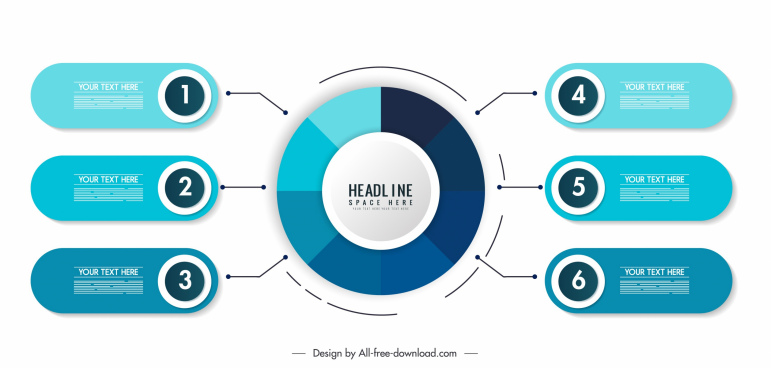 infographic template modern blue flat decor