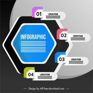 infographic template modern colored geometry origami sketch