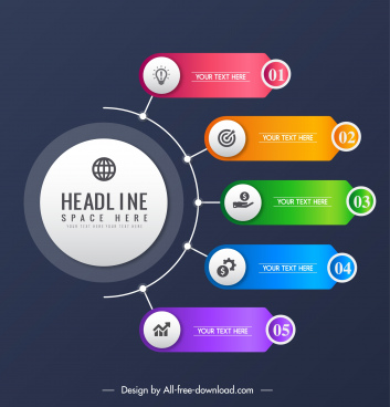 infographic template modern colorful branch circle chart