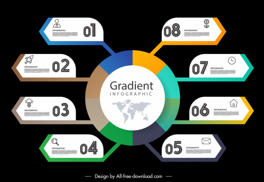 infographic template modern colorful dark decor branch chart