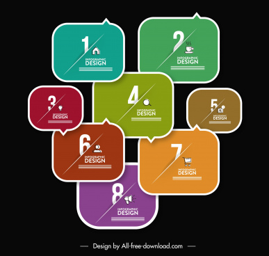infographic template modern colorful flat segments sketch