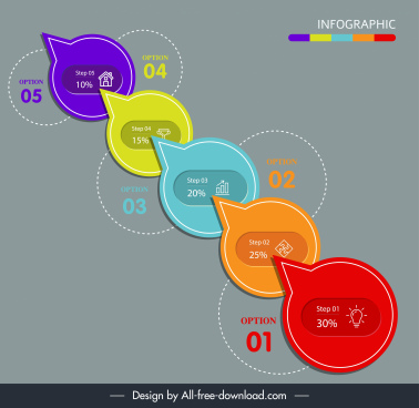 infographic template modern colorful flat speech bubble shapes