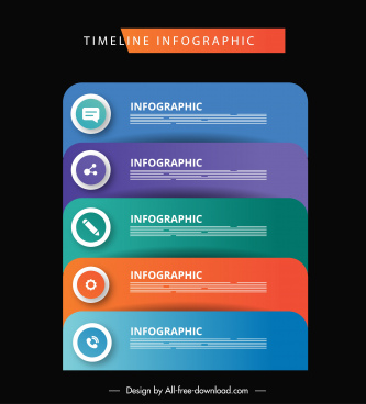 infographic template modern colorful layers sketch