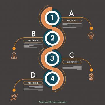 infographic template modern dark flat circles branches decor