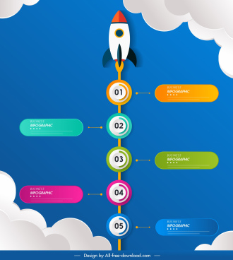 infographic template rocket icon circles tabs decor