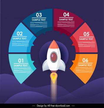 infographic template spaceship circle segments layout