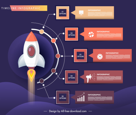 infographic template spaceship sketch colorful modern decor