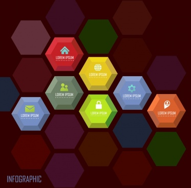 infographic template various colorful polygon background