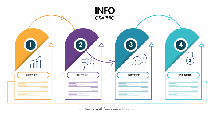 infographic template vertical sticker shapes modern design