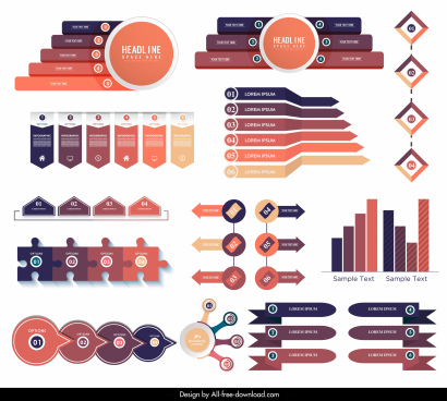 infographic templates modern bright colorful shapes